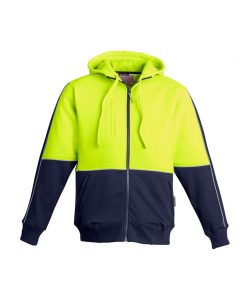 Mens Hi Vis Full Zip Hoodie Yellow Navy Blue