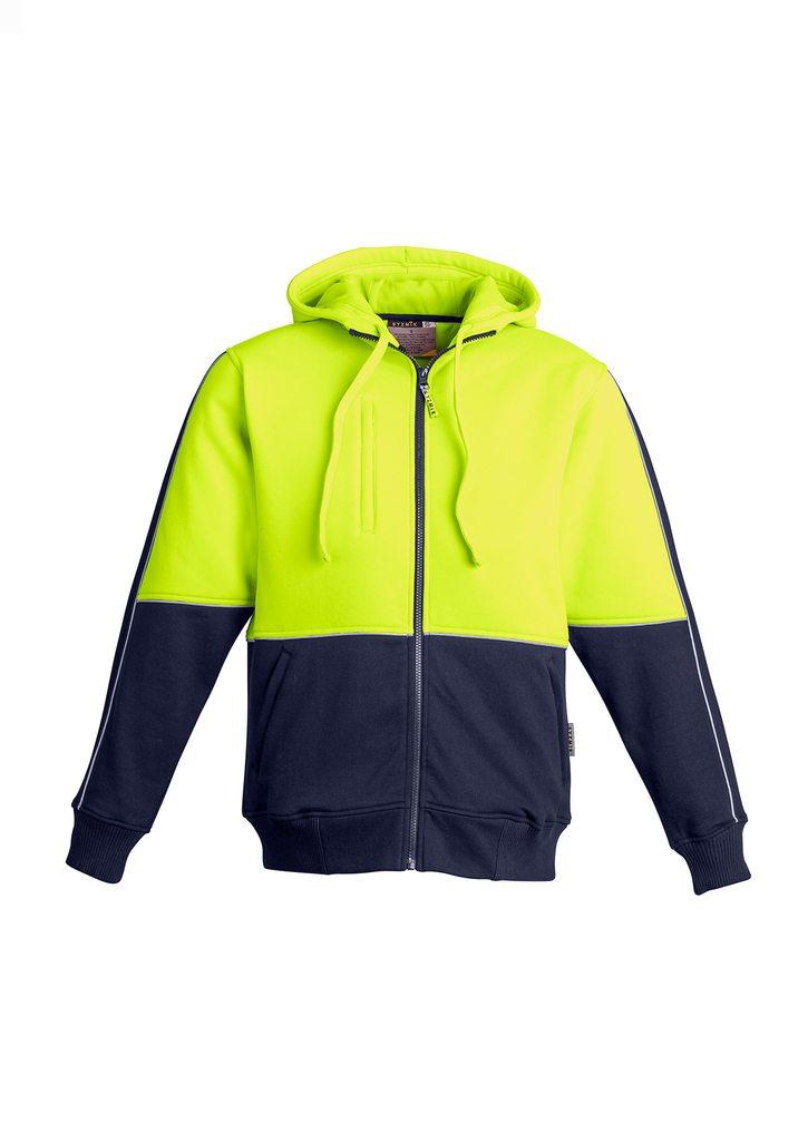 Mens Hi Vis Full Zip Hoodie Yellow Navy Blue