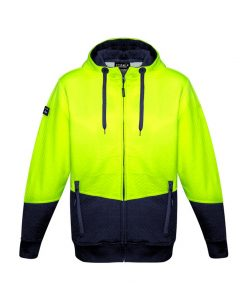 Hi Vis Textured Jacquard Full Zip Hoodie Yellow Navy