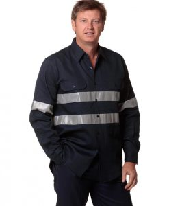 Cotton Drill Long Sleeve Work Shirt with 3M Tapes