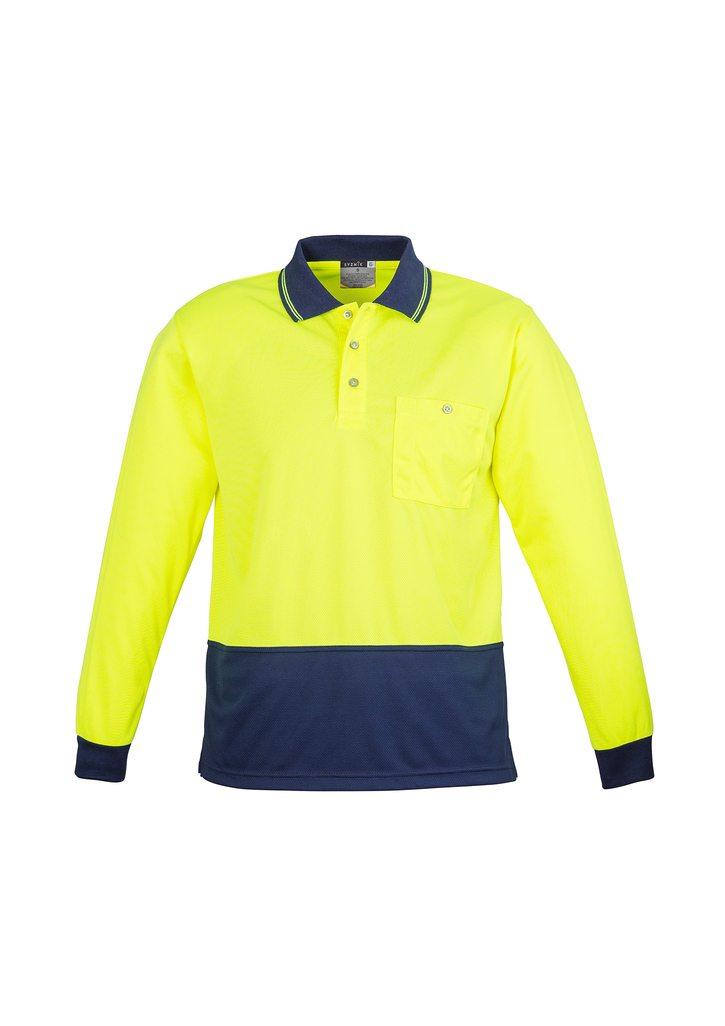 Unisex Hi Vis Basic Spliced Polo - Long Sleeve Yellow Navy Blue