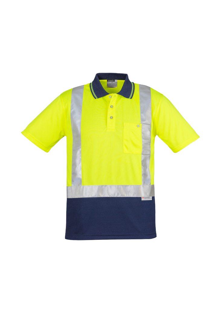 Mens Hi Vis Spliced Polo Short Sleeve Shoulder Taped yellow navy blue