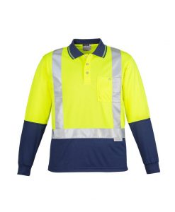 Mens Hi Vis Spliced Polo - Long Sleeve Shoulder Taped Yellow Navy Blue