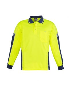 Mens Hi Vis Squad Long Sleeve Polo Yellow Navy Blue