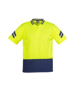 Mens Hi Vis Astro Polo Yellow Navy Blue