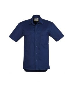 Mens Light Weight Tradie Shirt Short Sleeve Blue