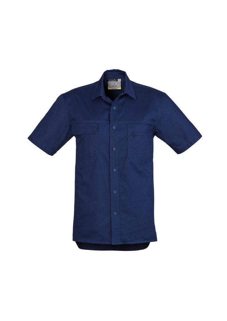 Mens Light Weight Tradie Shirt Short Sleeve Blue