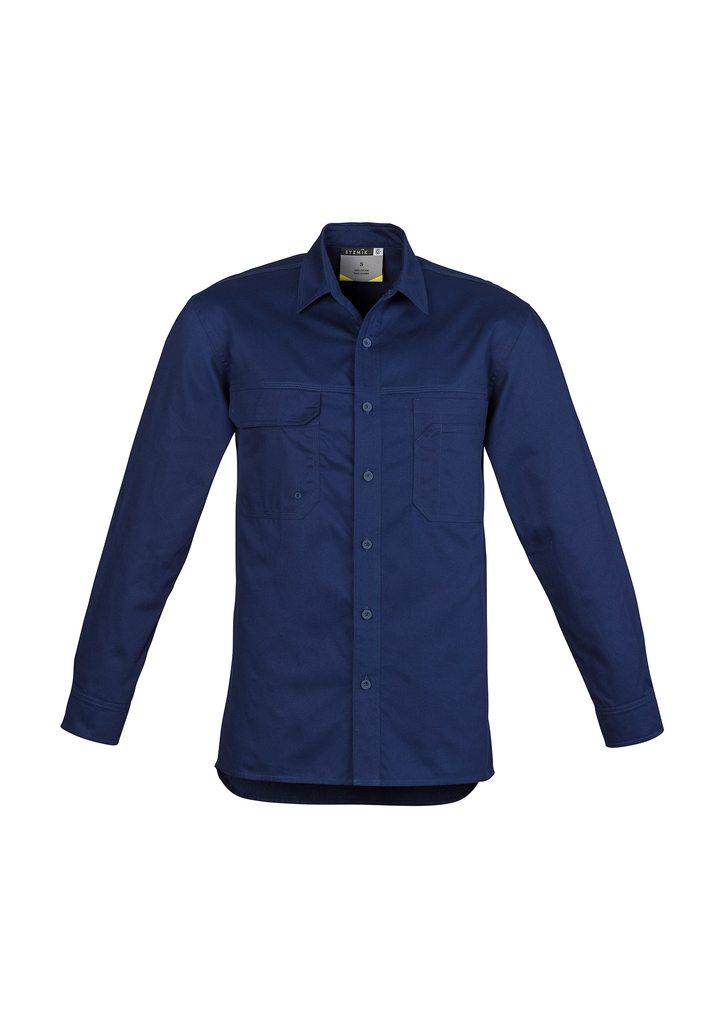 Mens Lightweight Tradie Shirt Long Sleeve Blue