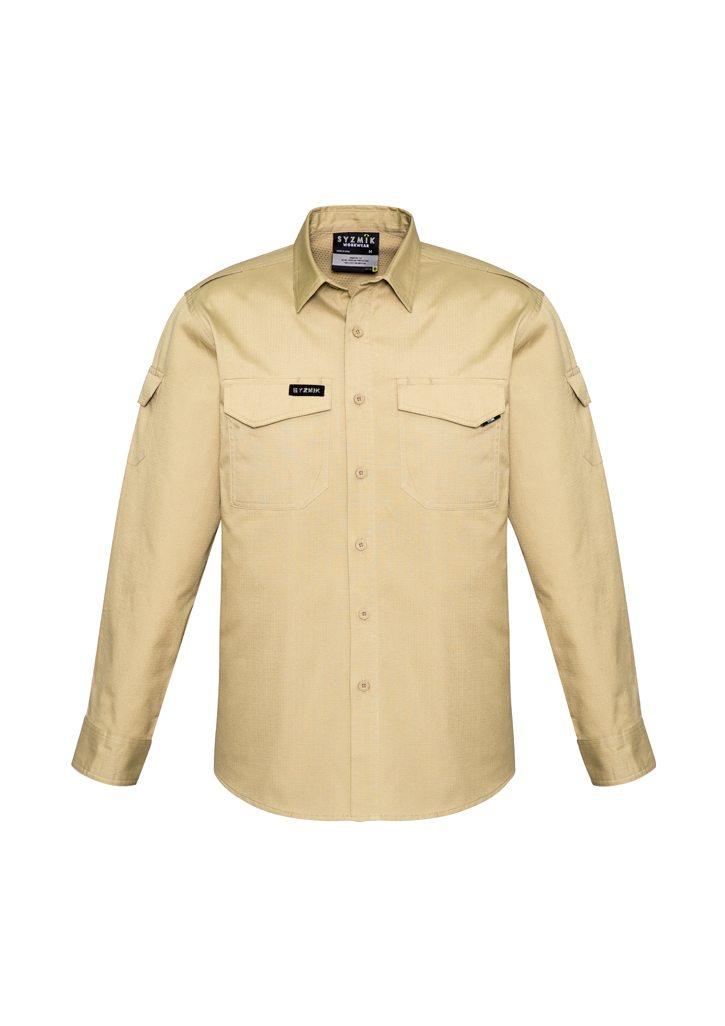 Mens Rugged Cooling Mens Long Sleeve Shirt Khaki