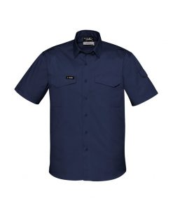 Mens Rugged Cooling Mens Short Sleeve Shirt Navy Blue