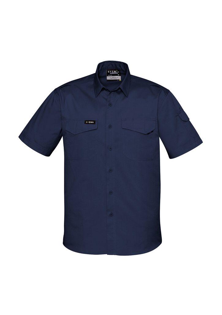 Mens Rugged Cooling Mens Short Sleeve Shirt Navy Blue