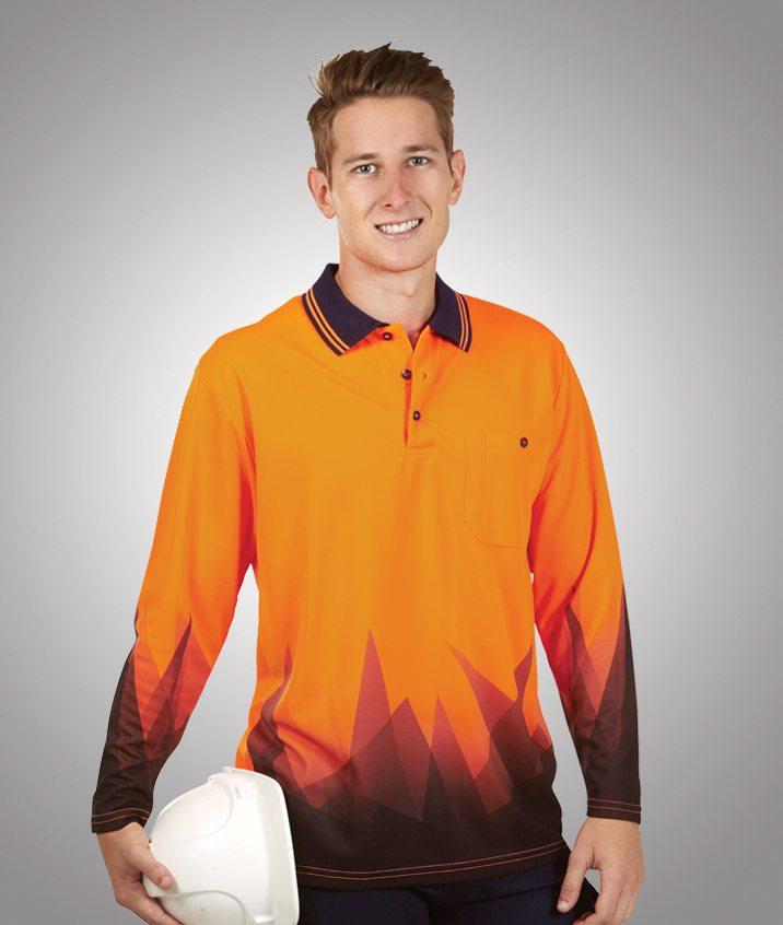 269af489104 Custom Triangular Design Hi Vis Long Sleeve Polo Shirt