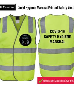HI VIS (D+N) SAFETY VEST Covid Hygiene Marshal Printed Safety Vest